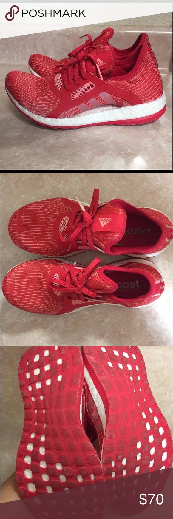 Adidas Pure Boost Barely worn red pure boosts! adidas Shoes Athletic Shoes