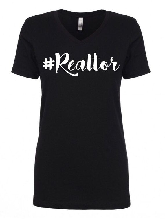 Fitted Hashtag Realtor V neck Tee Shirt