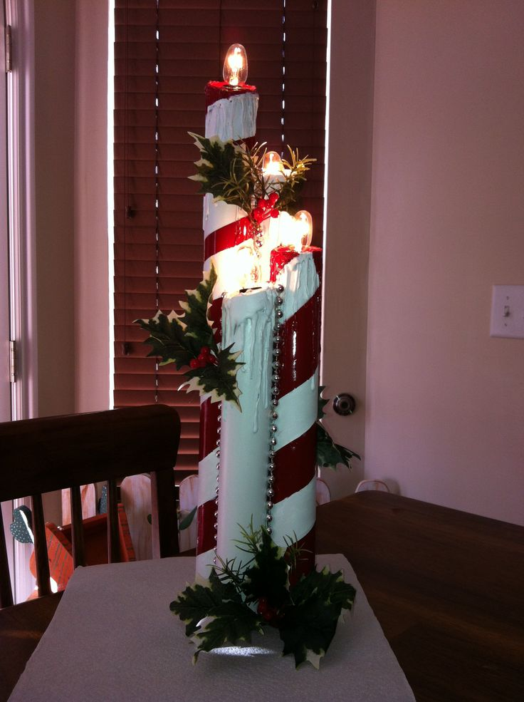 Christmas Candles Made Out Of Pvc Pipe So Pretty