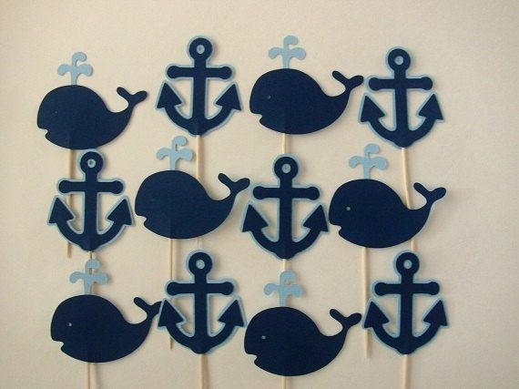 12 Navy Blue and Light Blue Anchor and Whale by partytymeshop