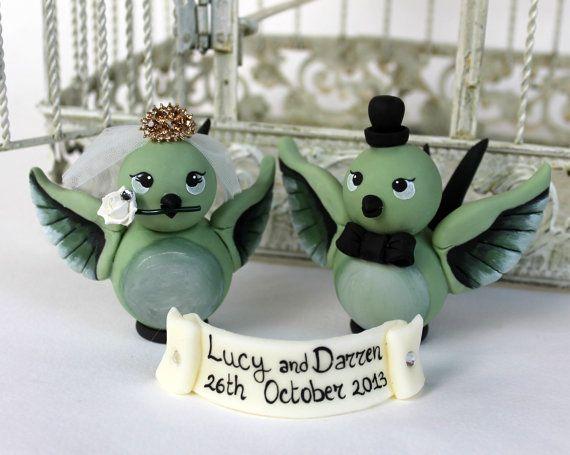 Love bird custom wedding cake topper with banner by PerlillaPets
