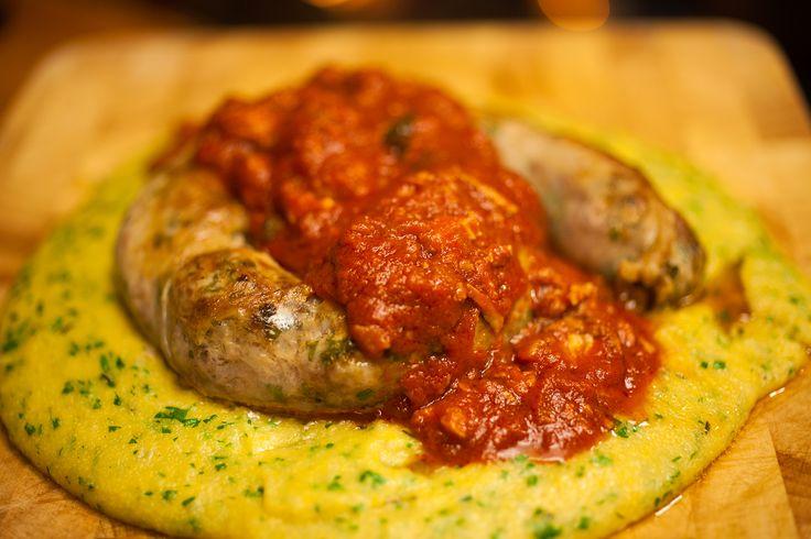 Nonno's Pork Sausage with Ragout: http://gustotv.com/recipes/sides/nonnos-pork-sausage-ragout-soft-herb-polenta-day-9/