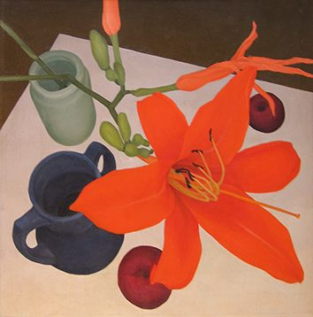 """Still life with day lily by Regine Granne; 1983; oil on linen; 17"""" X 17"""""""