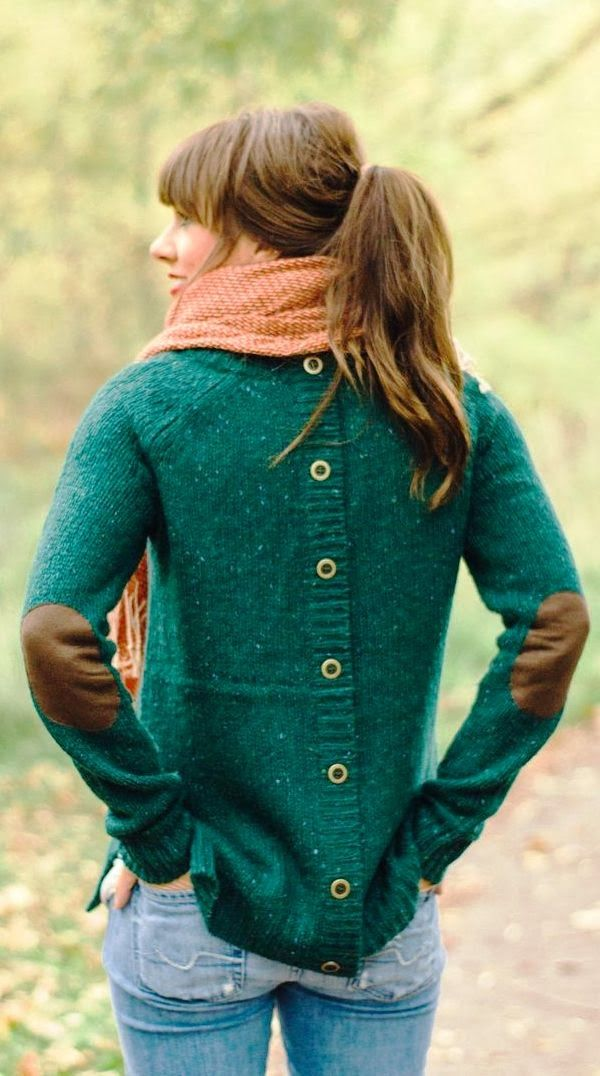 Back button green sweater with cute elbow patch