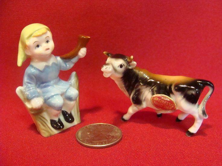 Vintage Miniature Nursery Rhyme Little Boy Blue & Cow Salt & Pepper Shakers   | eBay