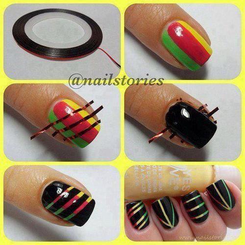 Cosa serve: smalto nero, smalto verde, smalto rosso, smalto giallo, stripe tape  -fare base con tre strisce di smalti colorati -posizionare le strisce -fare uno strato di smalto nero -toglier…
