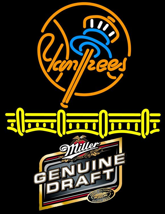 Miller MGD New York Yankees Neon Sign, Miller MGD with MLB Neon Signs | Beer with Sports Signs. Makes a great gift. High impact, eye catching, real glass tube neon sign. In stock. Ships in 5 days or less. Brand New Indoor Neon Sign. Neon Tube thickness is 9MM. All Neon Signs have 1 year warranty and 0% breakage guarantee.