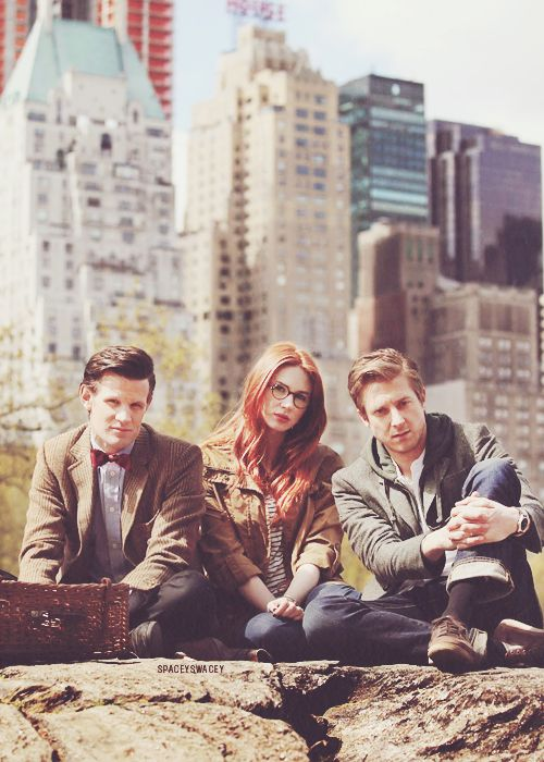 "Old Friends......... Eleven + Amy + Rory | Matt Smith + Karen Gillan + Arthur Darvill | Doctor Who | Behind the scenes ""The Angels Take Manhattan"" in Central Park, NY"