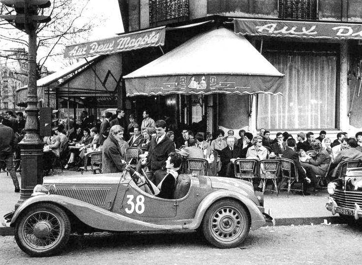 """mimbeau:  """"Aux Deux Magots"""" - St Germain des Prés Paris 1959 Sergio Larrain"""