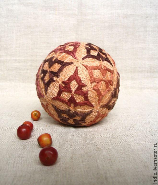 """Купить Темари """"Чертополох"""" - шар, шарик, темари, вышитый шар, сувенир, подарок девушке"""