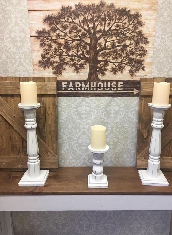 Set of Three Farmhouse Candle Holders-Farmhouse Decor-Rustic Candles-Rustic Candleholders-Farmhouse Centerpiece-Farmhouse candle