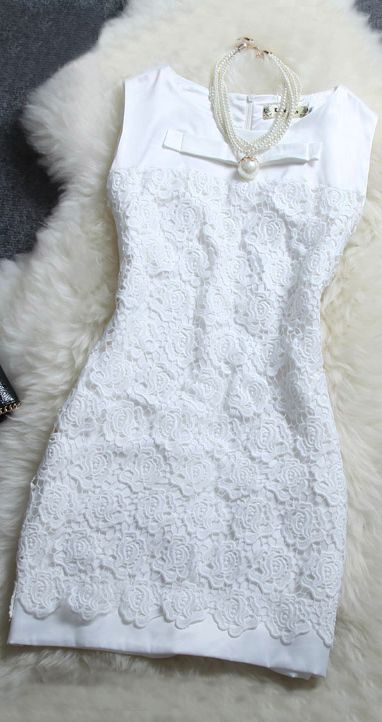 Slim Floral lace sleeveless dress