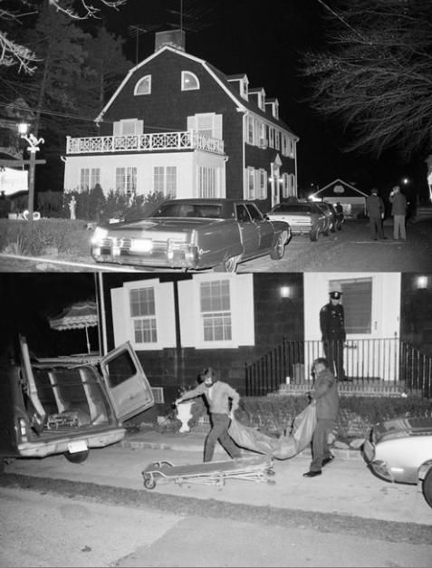 Police removing bodies from the Amityville house.  On November 14, 1974 Ronald DeFeo killed his father, mother, two brothers and two sisters in their home. His crimes were later made into a book and film named The Amityville Horror.