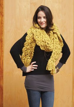 Keep cozy in this fun crocheted Big Scarf. Shown in Patons Cobbles. Free  Pattern