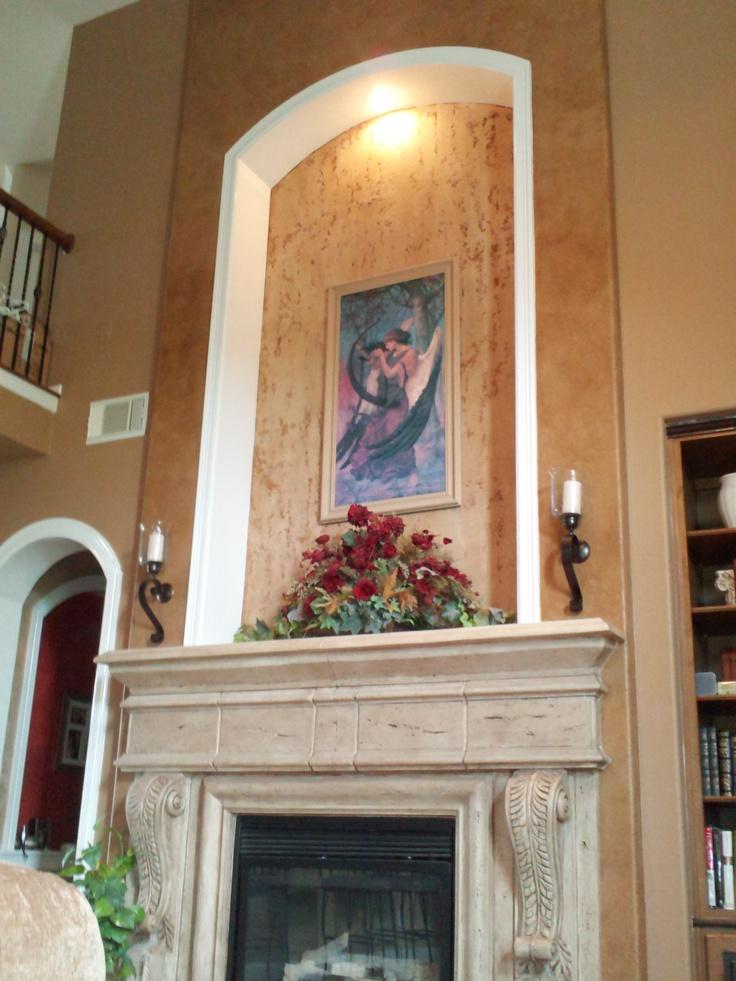 Fireplace wall finishes wall bump out art niche stone