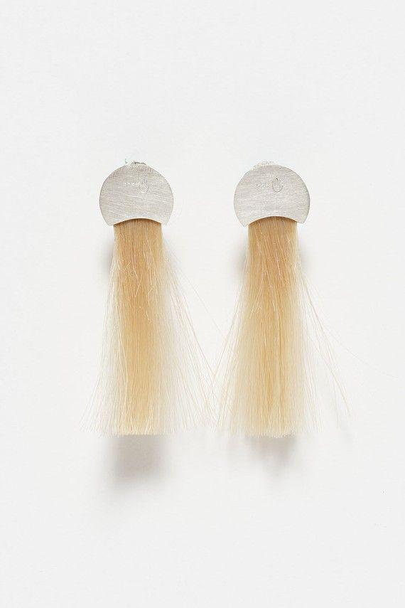 Silver and Human Hair Earrings