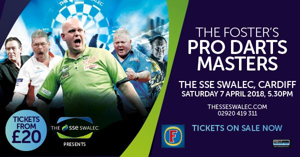 The Fosters Pro Darts Masters at The SSE SWALEC - EventsnWales, Two-time world champion and current world number one, Michael Van Gerwen returns to Cardiff to headline the Foster's Professional Darts Masters at The SSE SWALEC on Saturday 7th April.