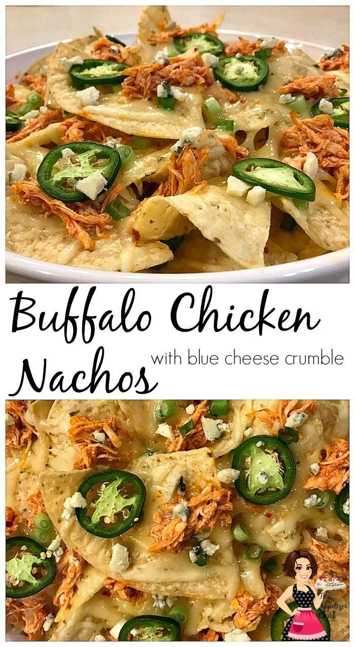 Buffalo Chicken Nachos with Blue Cheese Crumble