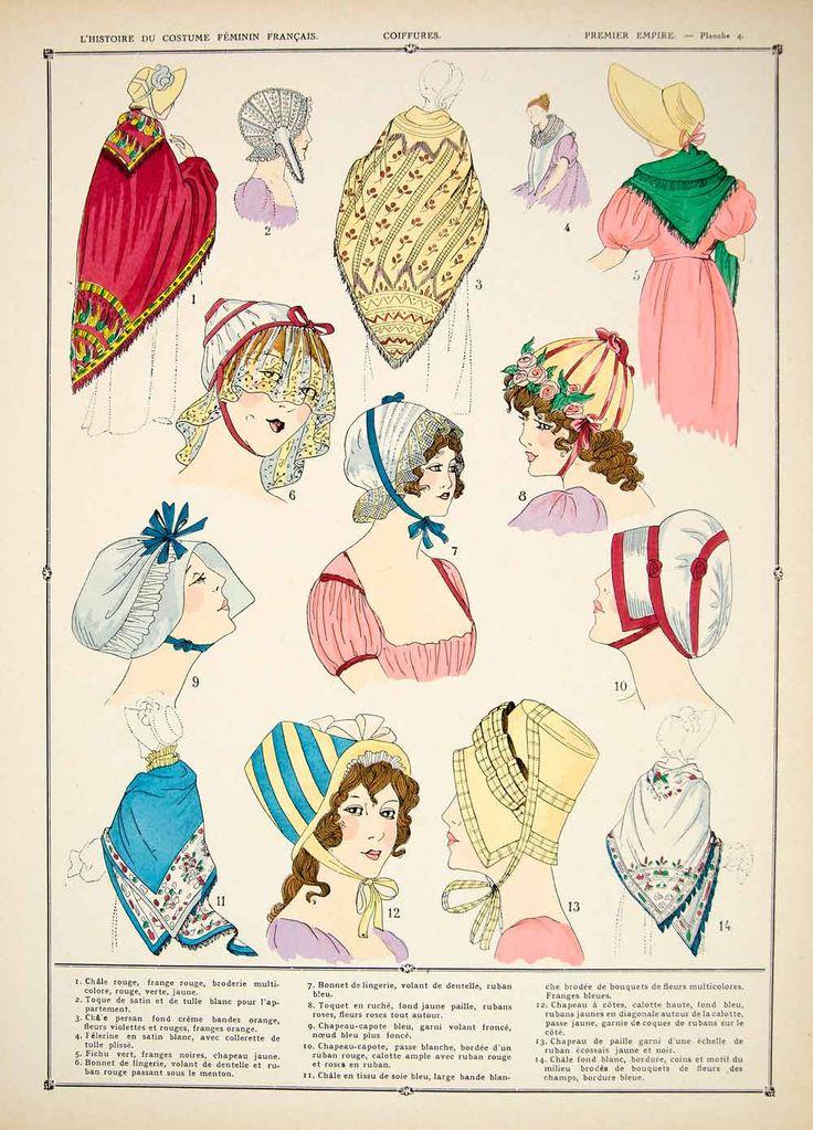 1922 Pochoir Print Costume First French Empire Fashion Hats Bonnets Women HCF2 - Period Paper