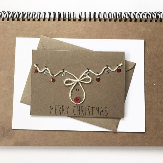 Pack of 5 Christmas Cards | christmas card set, reindeer christmas cards, Rudolph christmas card, childrens christmas card, handmade cards **This set will take approximately 1 week to make before dispatching** These cute handmade christmas cards measures A6, the design features