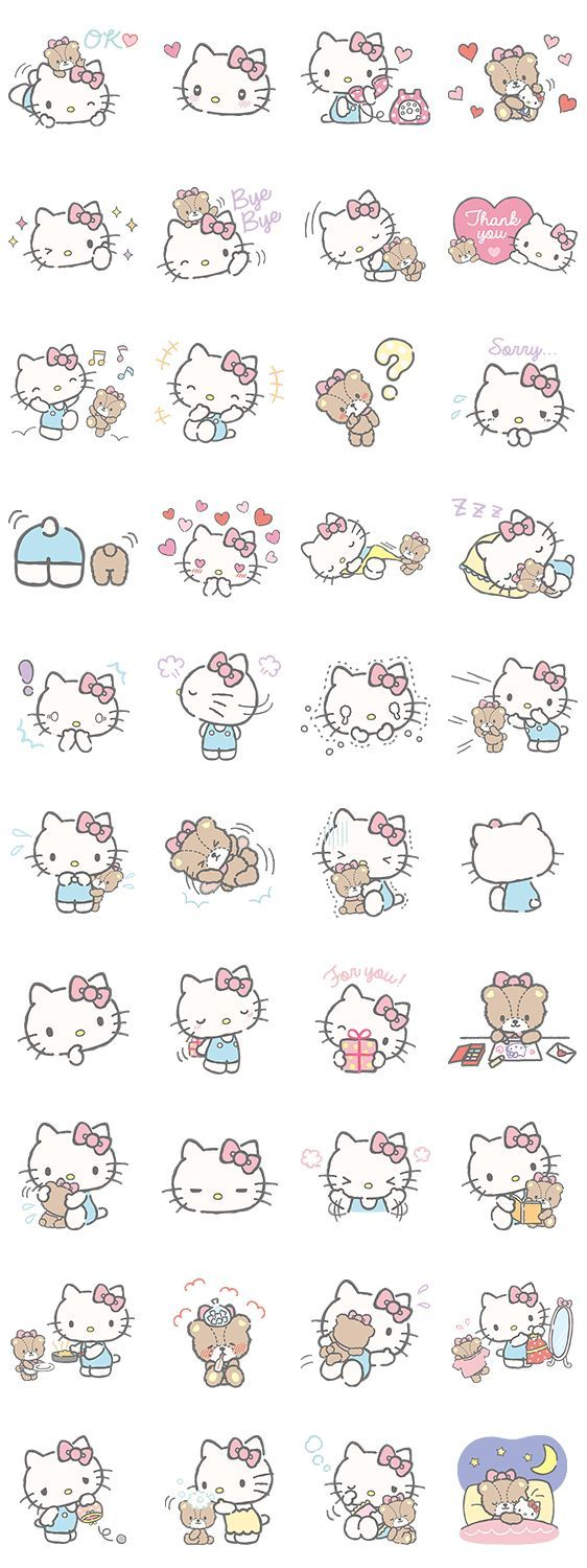 Hello Kitty Line stickers |( ̄3 ̄)|                                                                                                                                                      More                                                                                                                                                                                 Más and like OMG! get some yourself some pawtastic adorable cat shirts, cat socks, and other cat apparel by tapping the pin!