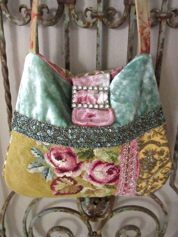 Vintage Needlepoint Roses Velvet Sequin Trim by LadidaHandbags