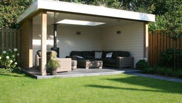 25 beste idee n over beschut tuinhuisje op pinterest gazebo huis met hordeuren en openlucht - Pergola dak platte ...