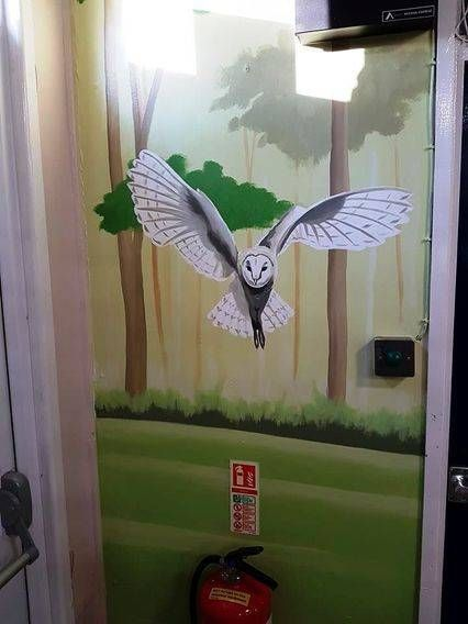 Hand painted mural in the dormitories at the Gordon Brown Outdoor Activity Centre in Hook.