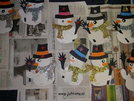 sneeuwpop met glittersjaal van juf Tinta www.jufTinta.nl