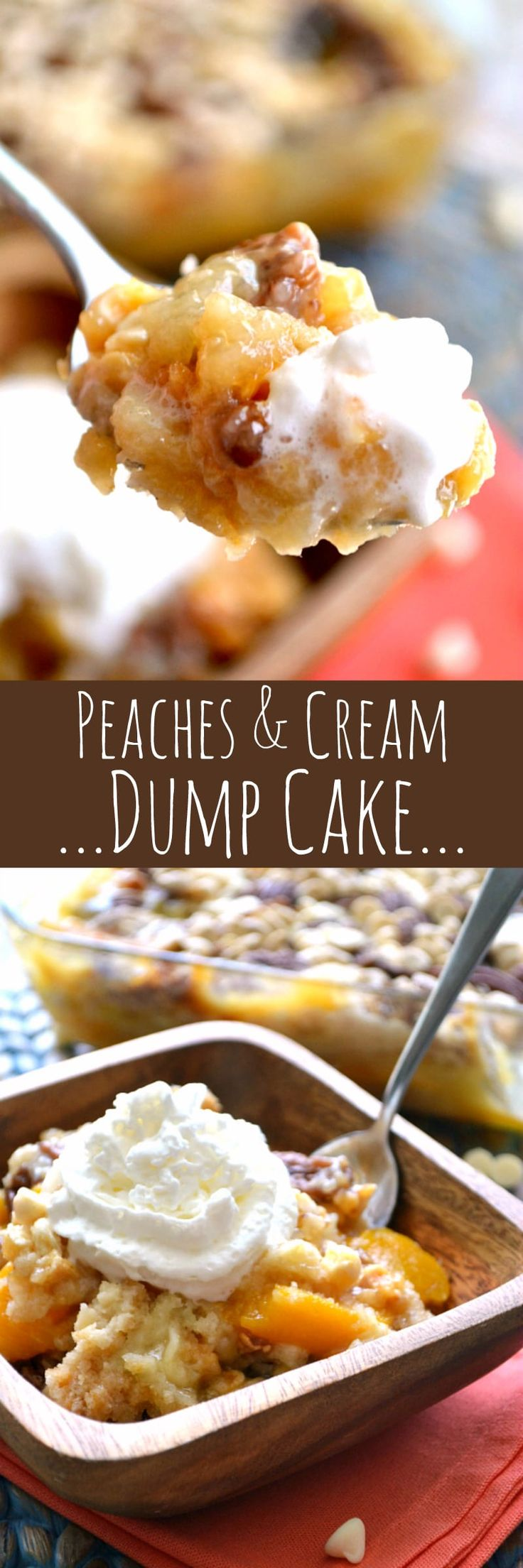 Peaches & Cream Dump Cake 1 box white or yellow cake mix  1 can peach pie filling  1 (15 oz.) can sliced peaches in light syrup (don't drain)  1 stick unsalted butter, cut in pieces  1 c. white chocolate chips  1 c. pecan halves (optional)