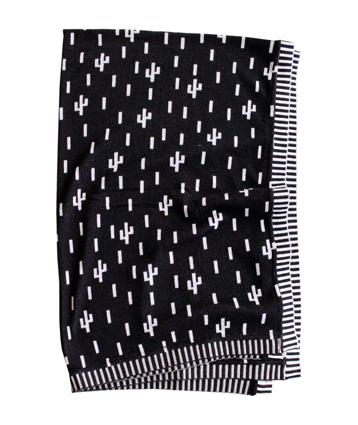 Black & white throw with little cactus! From Baba Souk