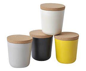 Vorratsdosen-Set Leah, 4-tlg., schwarz/grau/weiß/gelb, 0,33 L