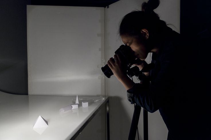 Student working in the Photography studios on campus. Photo by Silversalt