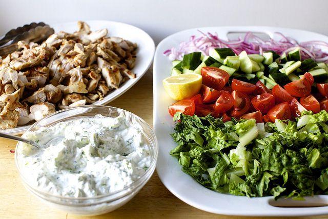 chicken gyro salad light dinner tatziki