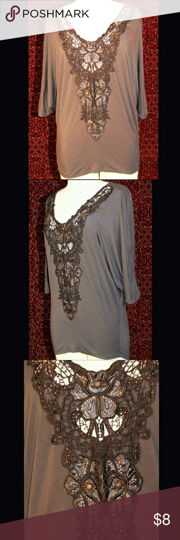 SOUL REVIVAL batwing blouse Excellent condition, fabric is thing, soft and is very stretchy (Viscose).  Fabric is just a little fuzzy - normal for this type of fabric.  Embellished lace front with faux leather details, metal studs and encased faux stones.  Batwing short sleeves. Tops Blouses