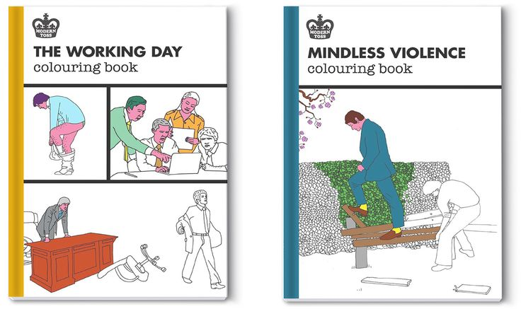 New tongue-in-cheek adult colouring books, which are a step away from the popular mindful designs