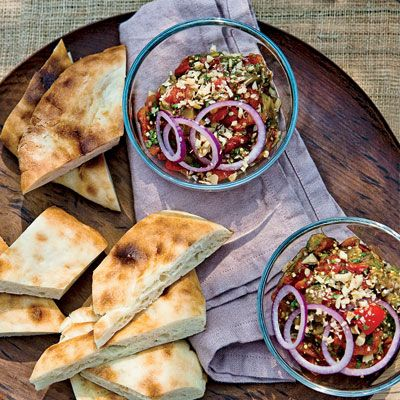 Grilled Eggplant Salad with Walnuts: Walnut Recipe, Flatbread, Summer Vegetables, Dishes, Smoky Flavored, Grilled Vegetables, Food Recipe, Grilled Eggplants, Eggplants Salad