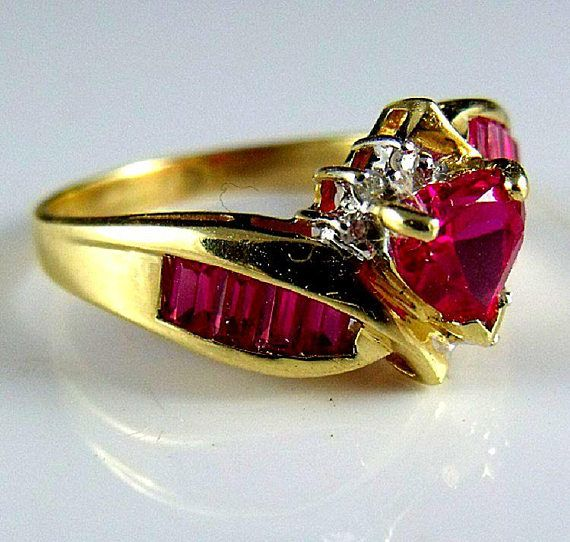 Ruby Ring A 10k Gold Heart Shaped Ruby And Diamond Ring With Channel Mount Rubies Size 7 Marked T Ruby Ring Gold Vintage Rings For Sale Ruby Ring
