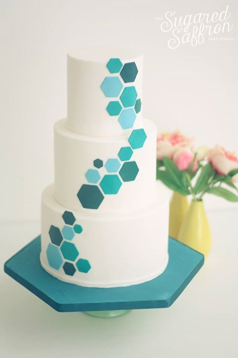 teal hexagon wedding cake