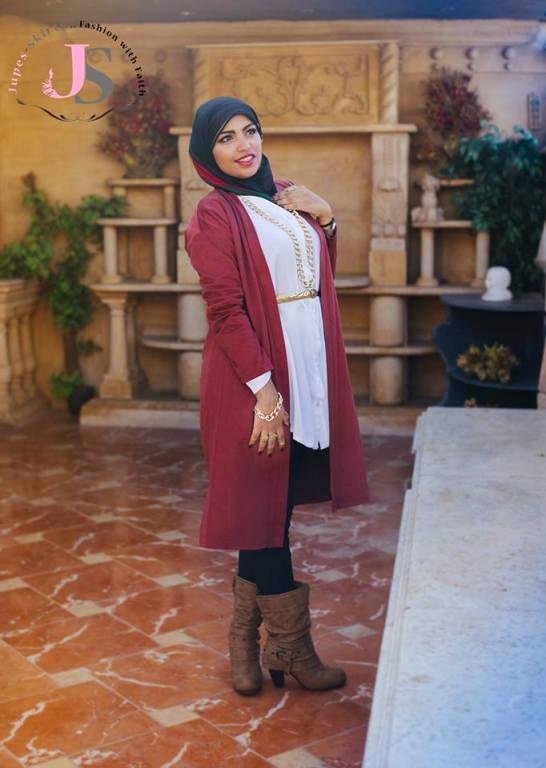 Long maroon cardigan hijab Winter hijab fashion from Egypt http//www.justtrendygirls.com ...