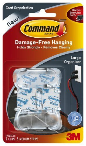 Command Large Cord Clips, Clear, 2-Clip, 6-Pack by Command. Save 36 Off!. $19.72. Amazon.com                  3M Adhesive Technology Command products offer simple, damage-free hanging solutions for many projects in your home and office. Simplify decorating, organizing, and celebrating with an array of general and decorative hooks, picture and frame hangers, organization products, and more. Thanks to the innovative Command adhesive strips, you can mount and remount your Command products w...