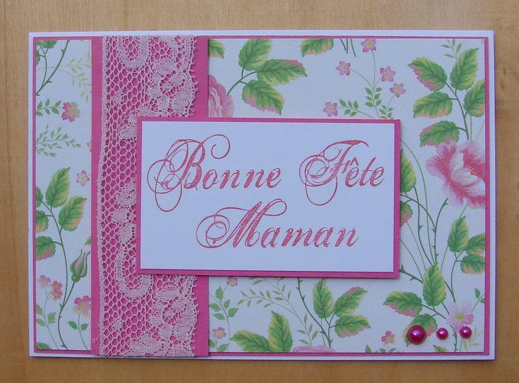 """carte fête des mères papier fleuri dentelle demi perles message """"Bonne Fête Maman"""" : Cartes par cdine08-aux-cartes-de-sandrine"""