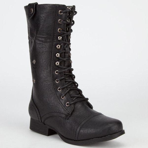 Diva Lounge Jetta Womens Military Boots ($40) ❤ liked on Polyvore featuring shoes, boots, mid-calf boots, foldover boots, mid calf lace up boots, mid calf combat boots et mid calf lace up combat boots