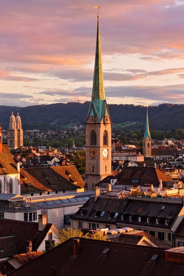 Zürich, Switzerland. Grossmünster (left), Predigerkirche (center), Fraumünster (right).