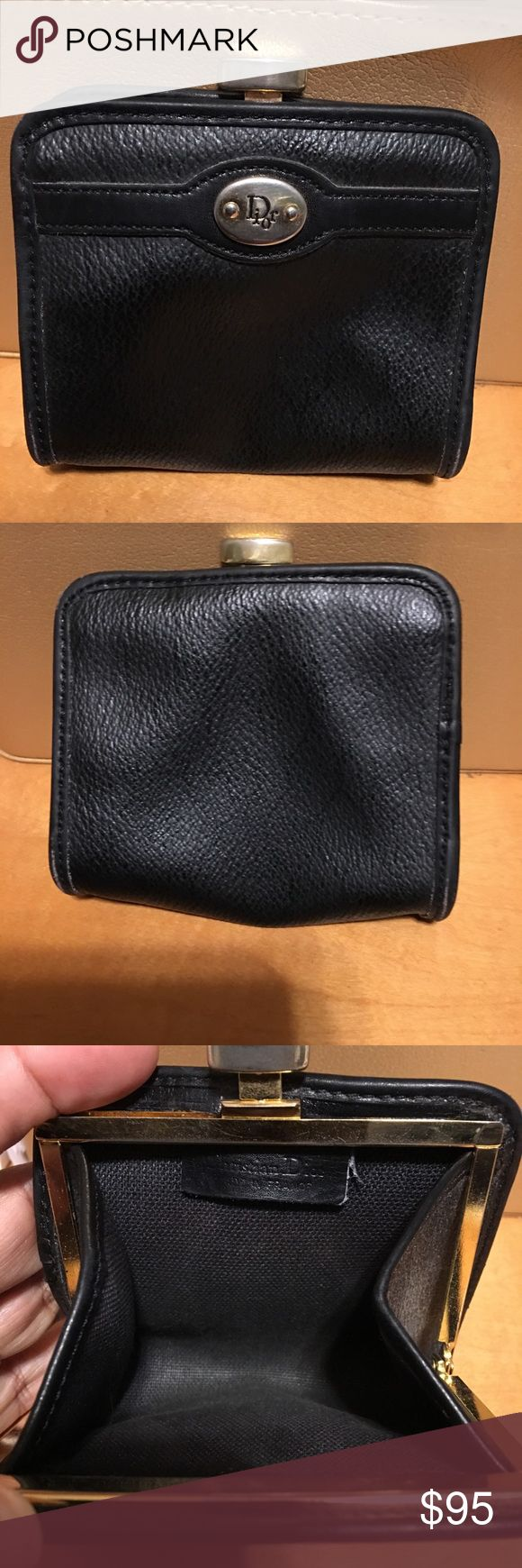 Vintage Christian Dior Leather Coin Pouch Very nice timeless piece . Some expected wear to hardware due to age . Clasp closure . Some light scuff on corners as shown . Christian Dior Bags Wallets