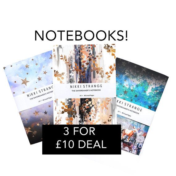 Three A5 notebook Deal 14 designs available by Nikkistrange