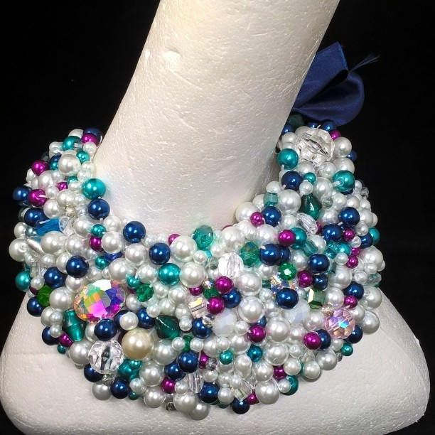 Beaded pearl collar statement necklace by NickieCohalanDesigns on Etsy