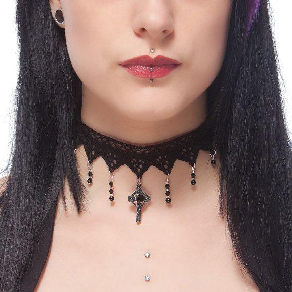 LunarraStar Raven skull choker necklace, Nevermore elegant gothic Victorian Steampunk lace choker with black Swarovski crystal