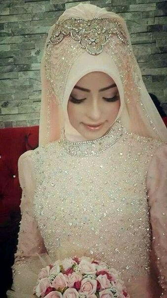More beautiful and blushing-Hijab bride