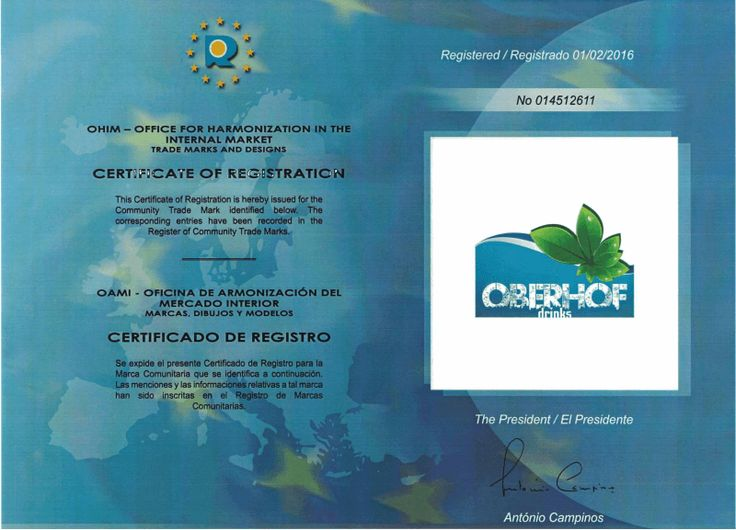 Registration Certificate for Europe of Oberhof Drinks  Finally, we have received the registration certificate for Europe in another way all European Countries of Oberhof Drinks at 01/02/2016 for all European Countries. Also we know that this is only certificate and does not proof the guarentee. Do not worry we are doing our best for serving all